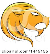 Clipart Of A Sketched Golden Yellow Astrology Zodiac Leo Lion Head In Profile Royalty Free Vector Illustration