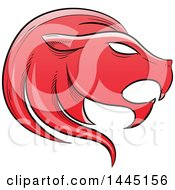 Clipart Of A Sketched Red Astrology Zodiac Leo Lion Head In Profile Royalty Free Vector Illustration