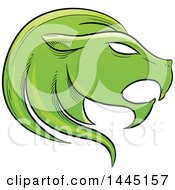 Clipart Of A Sketched Green Astrology Zodiac Leo Lion Head In Profile Royalty Free Vector Illustration