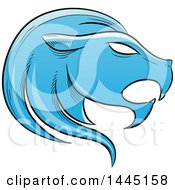 Clipart Of A Sketched Blue Astrology Zodiac Leo Lion Head In Profile Royalty Free Vector Illustration