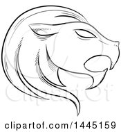 Clipart Of A Sketched Black And White Astrology Zodiac Leo Lion Head In Profile With White Fill Royalty Free Vector Illustration