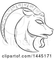 Sketched Black And White Astrology Zodiac Capricorn Goat Head In Profile With White Fill