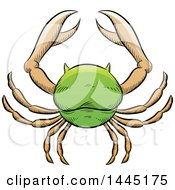 Clipart Of A Sketched Green Astrology Zodiac Cancer Crab Royalty Free Vector Illustration