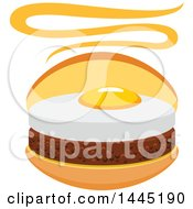 Clipart Of A Hamburger With A Fried Egg Royalty Free Vector Illustration by Vector Tradition SM