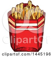 Clipart Of A Sketched Container Of French Fries Royalty Free Vector Illustration