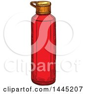 Clipart Of A Sketched Ketchup Bottle Royalty Free Vector Illustration