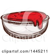 Clipart Of A Sketched Side Of Ketchup Royalty Free Vector Illustration