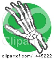 Clipart Of A Human Hand Joint Over A Green Circle Royalty Free Vector Illustration