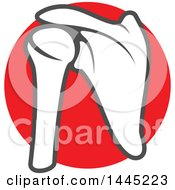 Clipart Of A Human Shoulder Joint Over A Red Circle Royalty Free Vector Illustration
