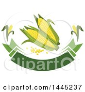 Clipart Of A Corn And Kernel With A Blank Banner Design Royalty Free Vector Illustration