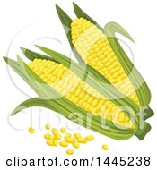 Clipart Of A Corn And Kernel Design Royalty Free Vector Illustration by Vector Tradition SM