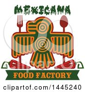 Clipart Of A Bird In Aztec Or Inca Totem Style With A Fork Spoon Chile Peppers And Mexicana Food Factory Text Royalty Free Vector Illustration