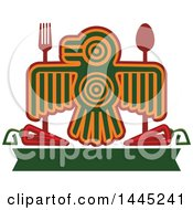 Clipart Of A Bird In Aztec Or Inca Totem Style With A Fork Spoon Chile Peppers And Blank Green Banner Royalty Free Vector Illustration by Vector Tradition SM