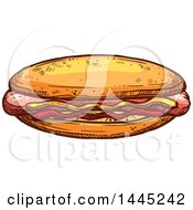 Clipart Of A Sketched Hot Dog With Mustard And Ketchup Royalty Free Vector Illustration by Vector Tradition SM