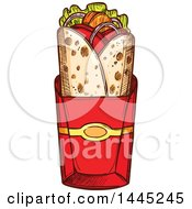 Clipart Of A Sketched Doner Kebab Or Gyro Royalty Free Vector Illustration