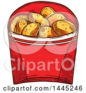 Clipart Of A Sketched Container Of Chicken Nuggets Royalty Free Vector Illustration by Vector Tradition SM