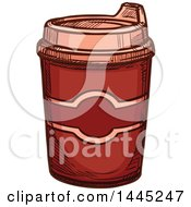 Clipart Of A Sketched Hot Chocolate Or Coffee In A To Go Cup Royalty Free Vector Illustration