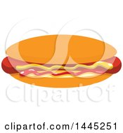 Clipart Of A Hot Dog With Mustard And Ketchup Royalty Free Vector Illustration by Vector Tradition SM