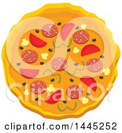 Clipart Of A Pizza Royalty Free Vector Illustration