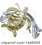 Clipart Of A Green Sea Turtle With A Hook And Net Royalty Free Vector Illustration