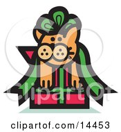 Orange Cat Stuck In A Green Ribbon Bow On A Christmas Present Clipart Illustration