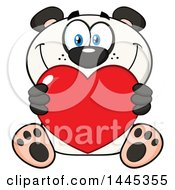 Clipart Of A Cartoon Happy Panda Holding A Red Valentine Love Heart Royalty Free Vector Illustration