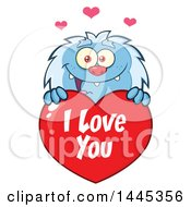 Cartoon Valentine Yeti Over A Red I Love You Heart