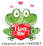 Clipart Of A Cartoon Frog Holding A Valentine I Love You Heart Royalty Free Vector Illustration