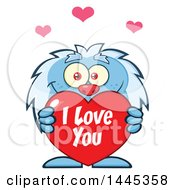 Clipart Of A Cartoon Valentine Yeti Holding A Red I Love You Heart Royalty Free Vector Illustration