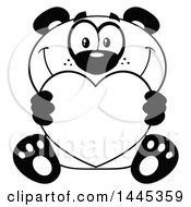 Clipart Of A Cartoon Black And White Lineart Happy Panda Holding A Valentine Love Heart Royalty Free Vector Illustration