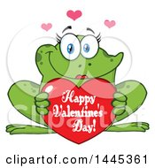 Poster, Art Print Of Cartoon Female Frog Holding A Red Happy Valentines Day Love Heart