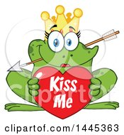 Clipart Of A Cartoon Princess Frog Biting Cupids Arrow And Holding A Valentine Kiss Me Heart Royalty Free Vector Illustration