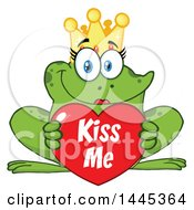 Clipart Of A Cartoon Female Princess Frog Holding A Red Valentine Kiss Me Love Heart Royalty Free Vector Illustration
