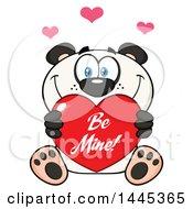 Poster, Art Print Of Cartoon Happy Panda Holding A Red Be Mine Valentine Love Heart
