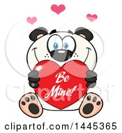 Clipart Of A Cartoon Happy Panda Holding A Red Be Mine Valentine Love Heart Royalty Free Vector Illustration