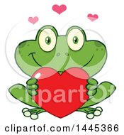 Clipart Of A Cartoon Frog Holding A Valentine Love Heart Royalty Free Vector Illustration by Hit Toon