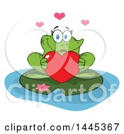 Poster, Art Print Of Cartoon Female Frog Holding A Red Valentine Love Heart On A Lily Pad