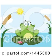 Cartoon Female Frog On A Lilypad