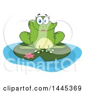 Clipart Of A Cartoon Female Frog On A Lily Pad Royalty Free Vector Illustration