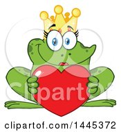 Clipart Of A Cartoon Female Princess Frog Holding A Red Valentine Love Heart Royalty Free Vector Illustration