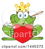 Cartoon Princess Frog Biting Cupids Arrow And Holding A Valentine Love Heart