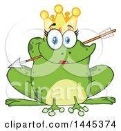 Poster, Art Print Of Cartoon Princess Frog Biting Cupids Arrow
