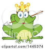 Cartoon Princess Frog Biting Cupids Arrow