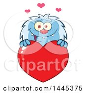 Clipart Of A Cartoon Valentine Yeti Over A Red Love Heart Royalty Free Vector Illustration by Hit Toon
