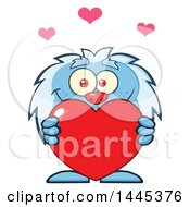 Clipart Of A Cartoon Valentine Yeti Holding A Red Love Heart Royalty Free Vector Illustration by Hit Toon