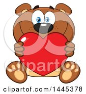 Clipart Of A Cartoon Teddy Bear Holding A Valentine Love Heart Royalty Free Vector Illustration by Hit Toon