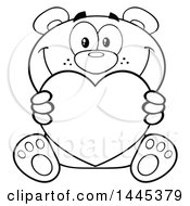 Clipart Of A Cartoon Black And White Lineart Teddy Bear Holding A Valentine Love Heart Royalty Free Vector Illustration by Hit Toon
