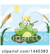 Cartoon Princess Frog Biting Cupids Arrow On A Lily Pad