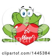 Cartoon Female Frog Holding A Red Valentine Be Mine Love Heart