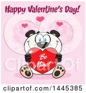 Clipart Of A Cartoon Happy Panda Holding A Red Be Mine Valentine Love Heart With Text On Pink Royalty Free Vector Illustration by Hit Toon